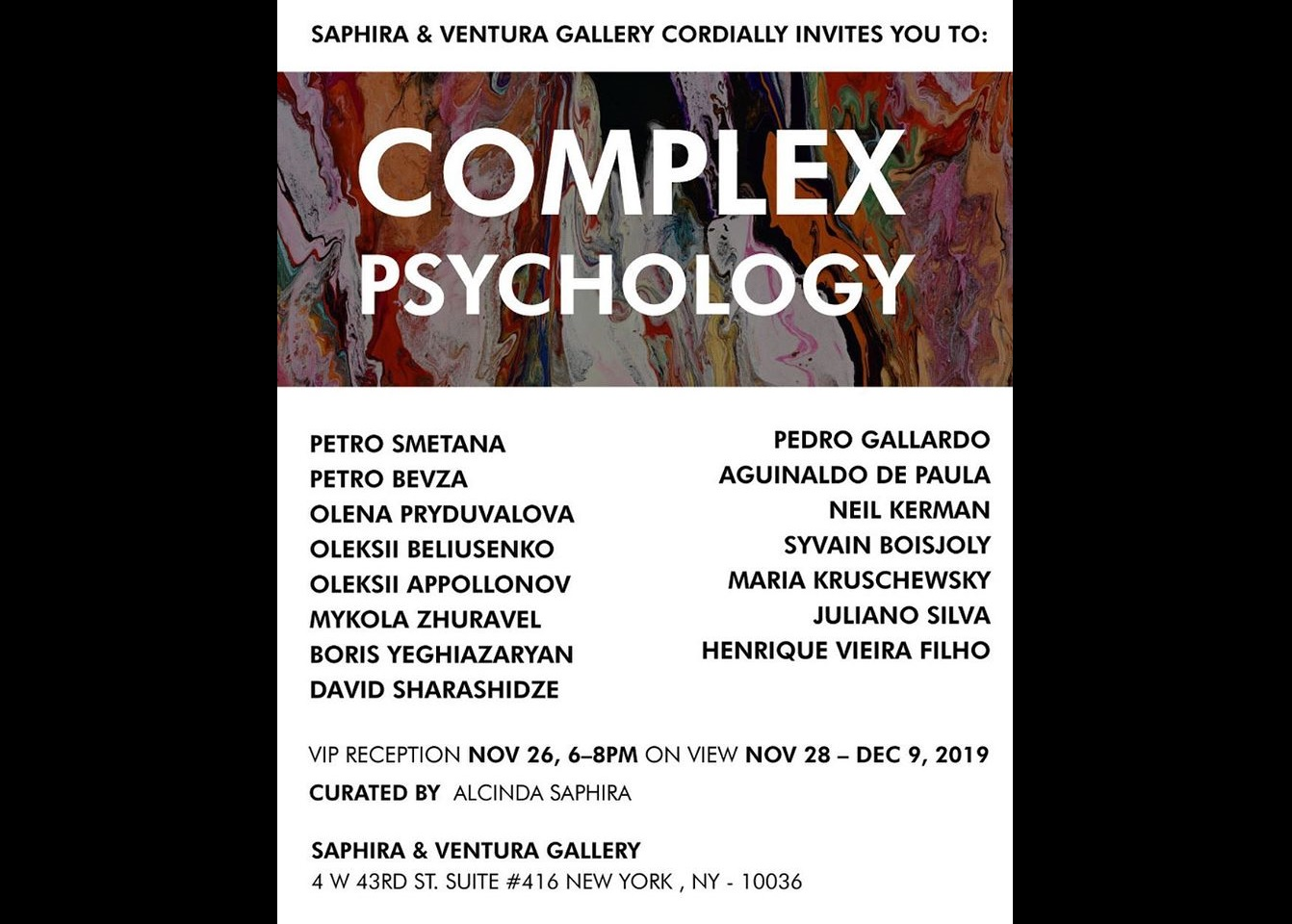 Art exhibition Complex Psychology, Saphira & Ventura art gallery, New York